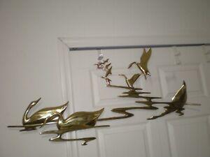 "Vtg 1985 BIJAN Double Signed Baked Enamel Metal Sculpture Birds Swan 39"" x 20"""