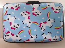 Blue Rainbow Unicorn Credit Debit Card Protector Purse Wallet Holder Case
