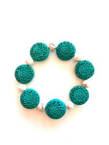 New Handmade Stretch Bracelet Green Cinnabar Carved Flower Beads Free Shipping