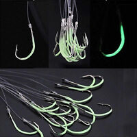 30Pcs 6 Sizes Luminous Light Carbon Steel Fishing Hook Tackle with Fishing Line