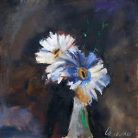 Flowers in a bottle Still Life Signed by Natalie Demenko Oil painting 20x20cm