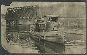 Fort Ann NY ? c.1910 RPPC Real Photo Postcard Tugboat LILLIAN Champlain Canal