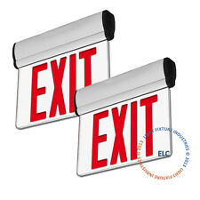 2Pack Red LED Edge Lit Exit Emergency Light - Rotating Fire Safety Sign - ELRTR