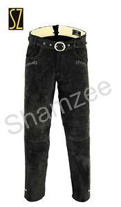 Trachten Lederhose lang inklusive Gürtel in schwarz farbe Echtleder