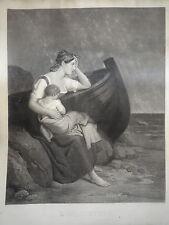 GRANDE GRAVURE J.A. FRANQUELIN ROLLET FEMME ENFANT MARINE BATEAU ROMANTISME 1830