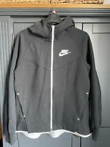 Black Nike Long Sleeve Zip Up Ladies Hooded Jacket L Large
