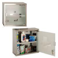 Wall Mounted Lockable 2 Keys Medicine Cabinet Cupboard First Aid Box Glass Door