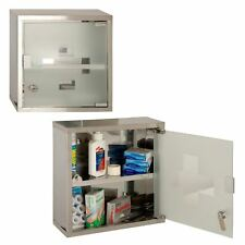 Wall Mounted Lockable 2 Keys Medicine Cabinet Cupboard First Aid Box Glass Door