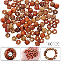 UK 100pcs Mixed Large Hole Wooden Beads for Macrame Jewelry Charms Crafts Making