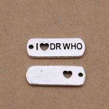 10pcs Charms Word I LOVE DR WHO Tibetan Silver Beads DIY Pendant 21*8mm