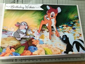 BIRTHDAY CARD, HANDMADE 3D DISNEY BAMBI & FRIENDS ENJOYING THE FLOWERS 3 CHOICES
