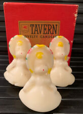 """3 Rare Vintage Tavern """"Painted Doll"""" Candles Boxed Christmas Guc"""