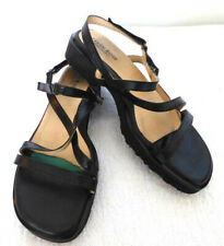 TARYN ROSE STRAPPY SLINGBACK TEXTURIZED LEATHER SANDALS BLACK 38.5