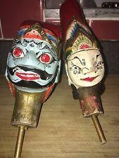 Two Vintage Antique Java Hand Carved Wayang Golek Heads
