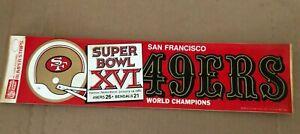 San Francisco 49ers Bumper Sticker-Super Bowl Champions XV1 1982 Bengals