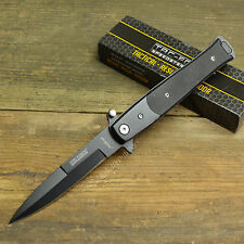 "8 3/4"" Italian Milano Stiletto Tactical Black G-10 Spring Assisted Pocket Knife"