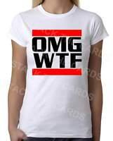 OMG WTF Funny - Womens White T-Shirt - Geek Retro Fun Kitsch Cute