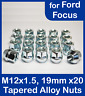 20x M12 x 1.5, 19mm Hex Open Alloy Wheel Nuts, For Ford Focus (Zinc)