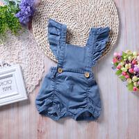 Newborn Infant Baby Girl Denim Romper Jumpsuit Sunsuit Short Outfits Clothes J