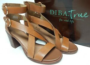 Diba True Hey You Size 11 M Women's Leather Strappy Block Heel Sandals Tan 37227