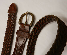 "Vintage braided Leather Belt 1"" Wide solid brass buckle Argentina 39"" Length"