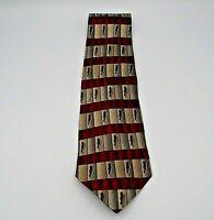 Monsieur Givenchy Men's Neck Tie Red, Tan, Gray, & Green Geometric Pattern Silk