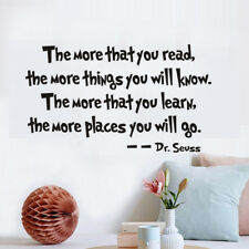 Dr. Seuss The More You Read Quote Vinyl Wall Sticker Kids Study Decal Home Decor