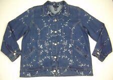 Denim & Co Denim Jacket 1X Blue Floral Embroidery