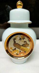 Elegant The Art of CHOKIN Japanese Oriental Design Vase Urn with Gold Accent