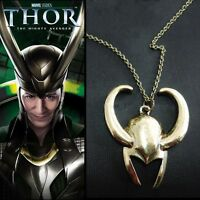 Film Surrounding Necklace Thor Loki Gold Mask Pendant Helmet Pewter