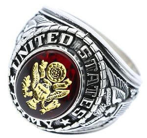 US Army Mens Ring 6 Carat Simulated Ruby White Overlay Size 14