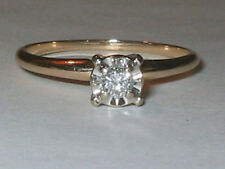 Vintage 14kt Solid Yellow Gold Illusion SI2 12pt Diamond Engagement Ring Sz 7.5+