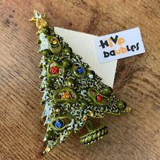 Vintage Signed ART Rhinestone & Enamel MCM Mod Christmas Tree Brooch