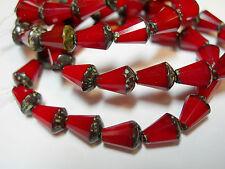 15 Czech Glass Red Opal Travertine Faceted Teardrop Beads 8x5mm