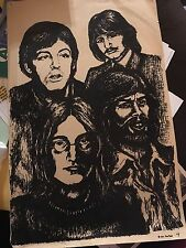 "BEATLES PENCIL DRAWING PRINT  17"" X 11"""