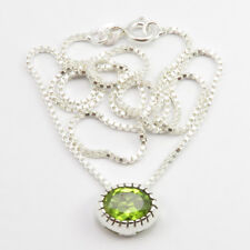 "Faceted Amethyst, Peridot Box Chain 2 in 1 Necklace 16"" Women 925 Silver Jewelry"