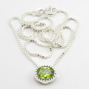 """Faceted Amethyst, Peridot Box Chain 2 in 1 Necklace 16"""" Women 925 Silver Jewelry"""