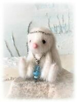"2 1/2"" Faux Fur Little Baby Bunny Rabbit Teddy Bear OOAK jointed Artist one off"