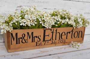 MR&MRS FLOWER BOX RUSTIC WEDDING TABLE CENTERPIECE PERSONALIZED WOODEN CRATE