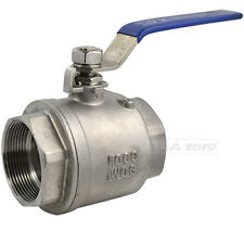 "1PC 2"" BSPT Female 316 Stainless Steel Full Port Ball Valve Heavy Duty Handle UK"