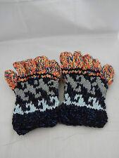 Fingerless gloves mitten top all wool heavy knit warm blue orange gray d