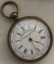 Center Seconds Chronograph Pocket Watch open face key wind 56 mm. in diameter