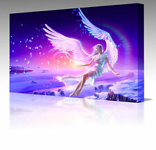 "Large 16x12"" Fantasy Pink Angel Wings Fantasy Framed Canvas Art Picture Print"