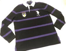 US Polo Rugby Long Sleeve Striped Black & Purple 3 Logo Embroidered Size Large