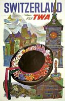 "Vintage Illustrated Travel Poster CANVAS PRINT Switzerland TWA 24""X18"""