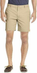 NEW  IZOD Mens Saltwater Flat Front Stretch Chino Shorts Khaki Size 36 NWT