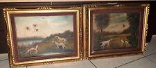 """Coppia di quadri dipinti antichi olio su tela fine 800 """"Scene cani da caccia"""""""