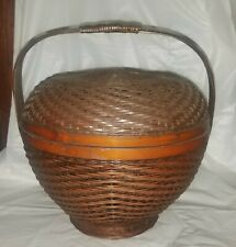 Chinese Covered Woven Sewing Lunch Box Basket Handle Bamboo Bent Wood Antique