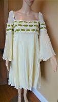 Vintage 1960's Calderon Hippie Boho Gauze Peasant Dress Size 11/12