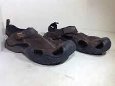 Crocs Mens Size 13 Swiftwater Brown Leather Casual Clogs Sandals ZV-811